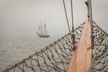 Denmark, Baltic Sea, Sailing Ship Seen From Gaff Schooner Bowsprit?