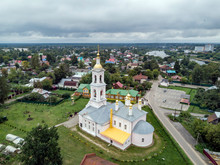 Aerial View Of Ascension Church Against Cloudy Sky At Kimry, Moscow, Russia