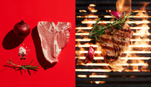 Directly Above Shot Of Steak Grilling By Ingredients On Red Background