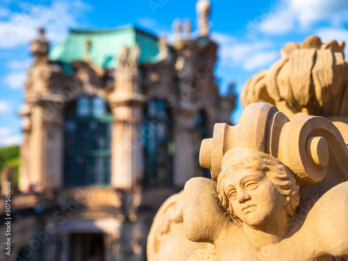 Foto op Plexiglas Historisch mon. Close-up of statue against Zwinger palace in Dresden, Germany