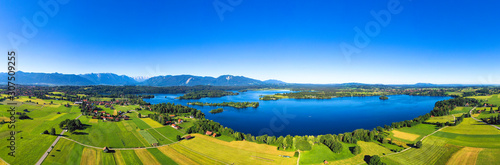 Panoramic view of Seehausen against clear blue sky Bavarian Alps in Germany