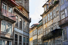 Portugal, Porto, Windows And Balconies Of Old Residential Buildings