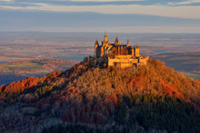 Hohenzollern Castle On Mountain Against Sky At Germany