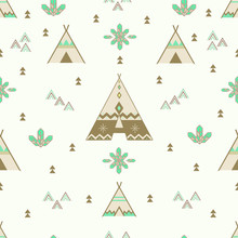 Seamless Indian Woodland Arrows And Teepee Pattern , Tribal Tent, Aztec Design. Aztec Wallpaper. Vector Illustration.