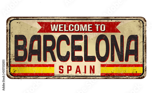 Photo  Barcelona vintage rusty metal sign