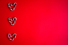 Candy Canes Shaped As Hearts O...