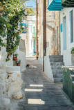 Fototapeta Uliczki - Narrow street paved with stones with tiny houses, stairs, balconies, plants and flowers at the Nisyros island, Greece