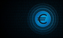 Digital Euro Coin With Ripples ''Pulse Effect'' Technology Money Symbol