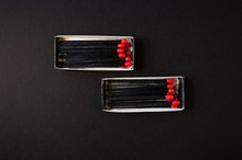 Black Wood Matches With Red He...