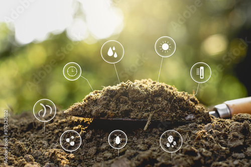 Dung or manure with technology, icons about decomposition become soil around Wallpaper Mural