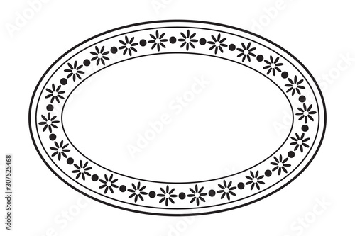 Fototapeta Empty blank vintage oval frame, romantic old style text box, floral border stamp, black isolated on white background, vector illustration. obraz