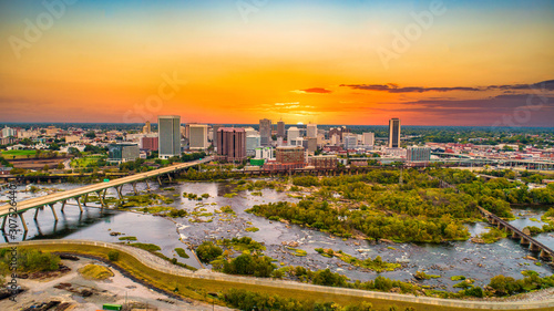 Downtown Richmond, Virginia, USA Drone Skyline Aerial Fototapet