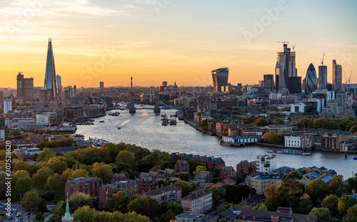 Aerial view of the City of London at sunset Canvas Print