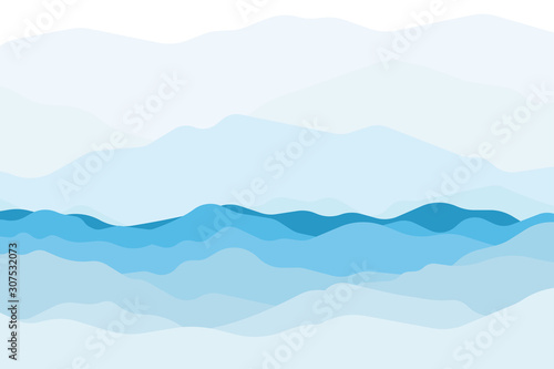 Obraz Blue sea and beautiful waves background and mountain colorful. Vector. - fototapety do salonu