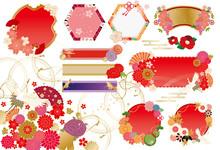 和風:フレーム 枠 飾り枠 和柄 和 和式 桜 鶴 亀 扇子 菊 椿 傘 番傘 春 冬 年賀
