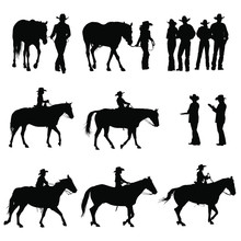 Vector Silhouettes Of Boys & G...