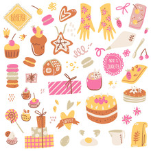 Hand Made Bakery, Ingredients, Packaging And Cooking Utensils. Cute Simple Style