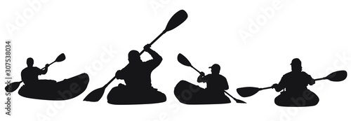 Photo A vector silhouette of men kayaking.