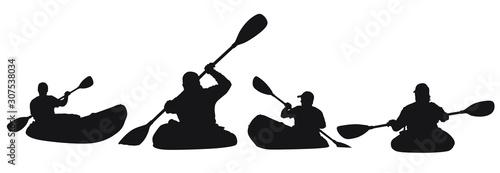 A vector silhouette of men kayaking. Obraz na płótnie