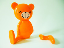 Smiley Bear With Broken Leg, Isolated, White Background