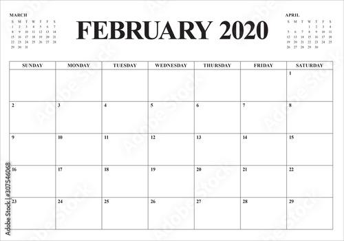 Obraz February 2020 desk calendar vector illustration - fototapety do salonu