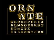 Ornate Gold Vector Set Of Lett...