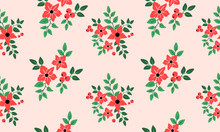 Style Floral Pattern Background, Bright Red Flower.