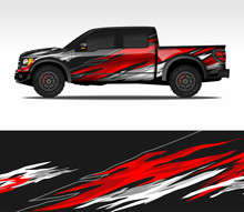 Car Wrap Decal Design Vector, For Advertising Or Custom Livery WRC Style, Race Rally Car Vehicle Sticker And Tinting Custom. 4x4 Ford Raptor Double Cabin.
