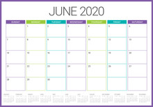 June 2020 Desk Calendar Vector Illustration