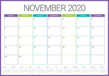 November 2020 Desk Calendar Vector Illustration