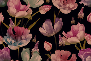 Panel Szklany Vintage Vintage floral seamless pattern. Beautiful spring flowers tulips and muscari on black. Fashion background. Design for paper, wallpaper, decoration packaging, textile. Illustration art.