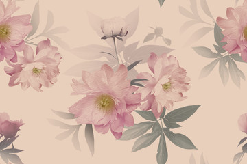 FototapetaFloral seamless pattern. Beautiful blooming flowers peonies and leaves. Fashion background. Design for paper, wallpaper, decoration packaging, textile. Pastel color. Vintage illustration art.