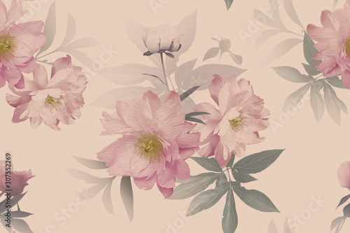 floral-seamless-pattern-beautiful-blooming-flowers-peonies-and-leaves-fashion-background-design-for-paper-wallpaper-decoration-packaging-textile-pastel-color-vintage-illustration-art