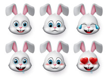 Rabbit Emojis Vector Set. Rabb...