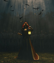 Medieval Princess With Lantern At Night Surrounded By The Undead,3d Rendering