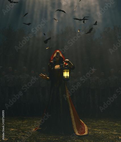 Medieval princess with lantern at night surrounded by the undead,3d rendering Tapéta, Fotótapéta