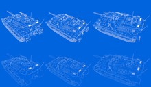 Military 3D Illustration Of Schema - Outlined Isolated 3D Army Tank With Fictional Design, High Resolution Serve And Protect Concept