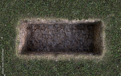 Obraz na płótnie Open Empty Grave Hole