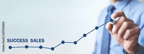 Fototapeta Man with growth graph. Success sales obraz