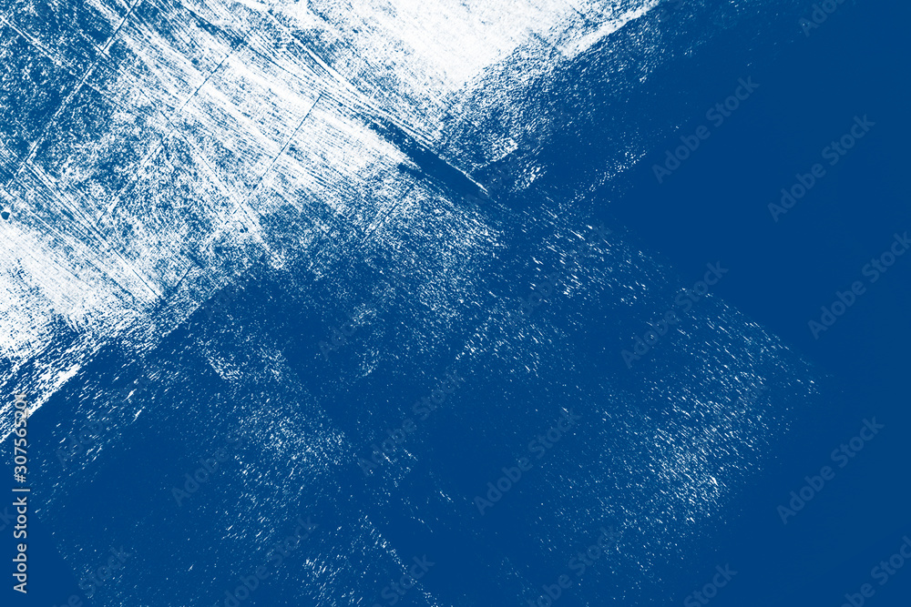 Fototapeta classic blue winter snow and white hand painted background texture with grunge brush strokes6 color of the 2020 year
