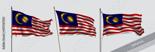 Cuadros en Lienzo Set of Malaysia waving flag on isolated background vector illustration