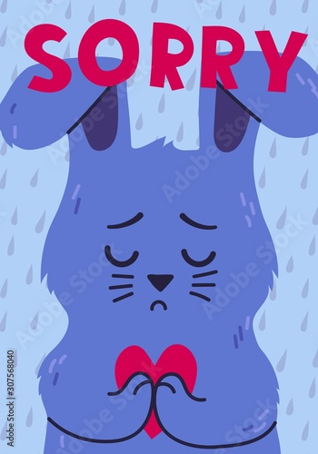 Poster with sad rabbit holding heart and sorry lettering Wallpaper Mural