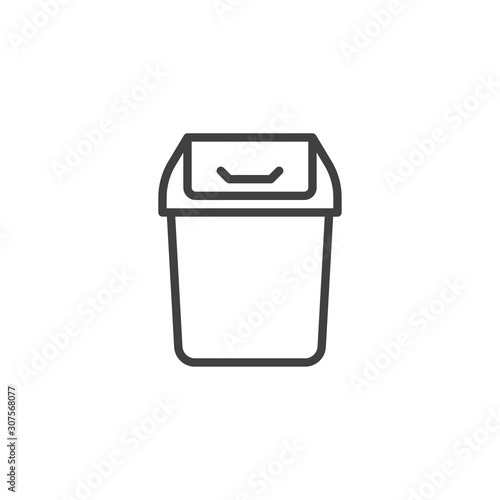 Photo Trashcan basket line icon