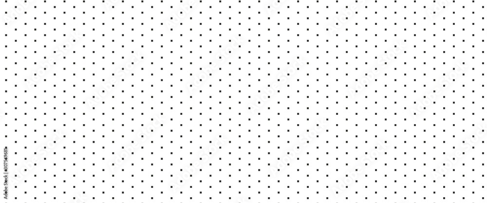 Fototapeta Dotted seamless pattern. Black repeat square dots on white background.