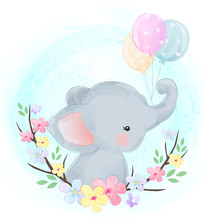 Cute Baby Elephant With Balloons
