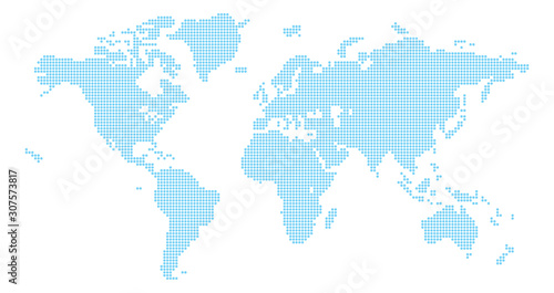 Fototapeta A world map background made of circles or dot shapes obraz