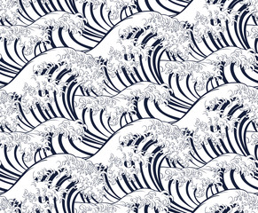 Panel Szklany Podświetlane Do pokoju dziewczyny Wave pattern background that can be seamlessly tiled or repeated. In an engraved vintage retro woodcut Japanese style