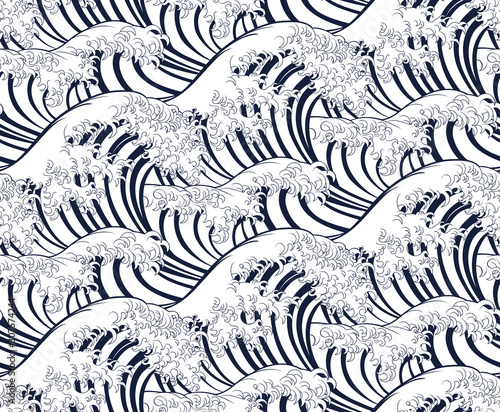 Wave pattern background that can be seamlessly tiled or repeated. In an engraved vintage retro woodcut Japanese style