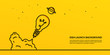 Light bulb launching to space on yellow background, flat start up idea concept