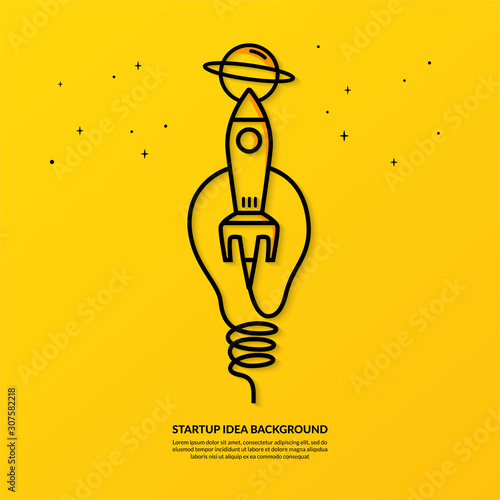 Rocket launching with light bulb on yellow background, flat start up idea concept Wall mural